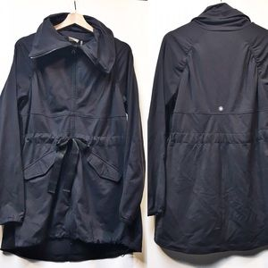 Athleta Cinch Waist Large Collar Black Jacket Sz L